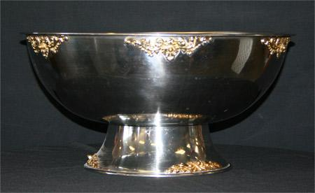 5 Gallon Silver Punch Bowl w/ Gold Trim