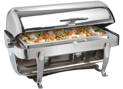 8 Quart Chafer Roll Top Gold Trim