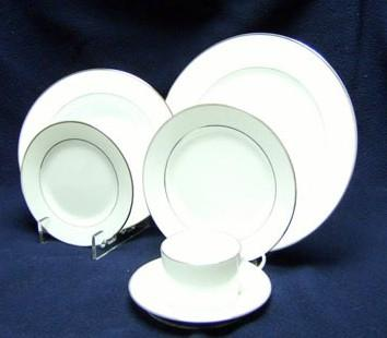 White w/ Silver Trim Coffee Cup / Saucer