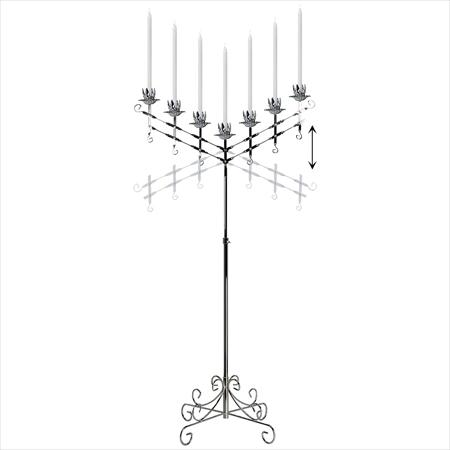 7 Light Adjustable , Silver Candelabra