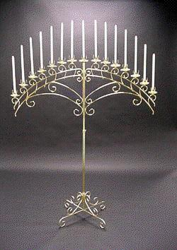 Fan 15 Candles Brass Candelabra