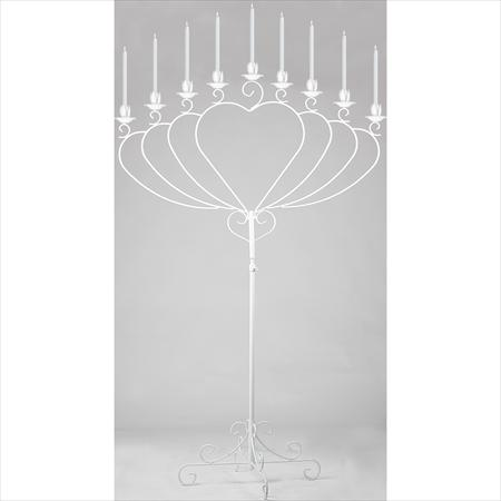 Silver Heart 9 Light Candelabra